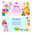 my first toy and kids games posters with text vector image