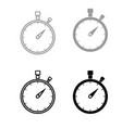 the stopwatch the black and grey color set icon vector image