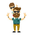 happy smiling hipster father and son vector image