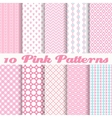 Pink different seamless patterns vector image