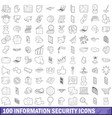 100 information security icons set outline style vector image vector image