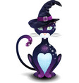 black cat with hat vector image