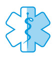blue shading silhouette with health symbol with vector image vector image