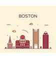 Boston skyline trendy linear vector image vector image