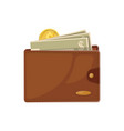 brown leather wallet with cash vector image vector image