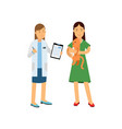 brunette woman at the veterinary doctor with her vector image vector image
