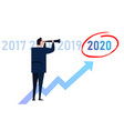 business man leader vision ahead strategy for 2020 vector image