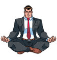 businessman meditating vector image vector image