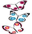 butterflies with flowers set vector image vector image