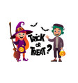 cartoon children witch and monster costume trick vector image vector image