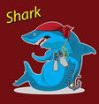 character shark cartoon sitting with an anchor vector image vector image