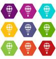 checkered air balloon icon set color hexahedron vector image vector image