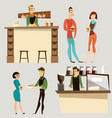 coffee bar people icon set vector image