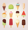collection of 12 cartoon ice cream vector image vector image