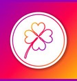 color four leaf clover line icon isolated on color vector image vector image