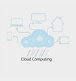 computer cloud with rain of numbers vector image vector image
