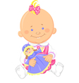cute bagirl playing with a toy doll vector image