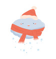 cute happy cloud in scarf and red santa hat vector image vector image
