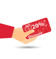 Discount coupons in hand 20-percent discount vector image vector image