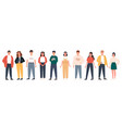 diverse people group standing together on isolated vector image