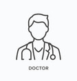 doctor flat line icon outline vector image vector image