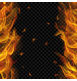 fire flame on two sides with vertical repeat vector image vector image