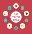 flat icons table tennis rocket puck and other vector image vector image
