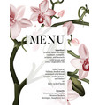 floral pink orchid menu wedding invitation card vector image vector image