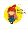 girl in a winter cap Christmas Holidays vector image vector image