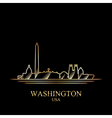Gold silhouette of Washington on black background vector image vector image