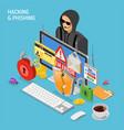 hacker activity isometric concept vector image