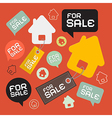 House For Sale Retro Paper Icons Set vector image vector image