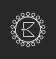 Letter B logo line frame monogram elegant black vector image