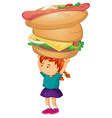Little girl holding hamburger and hotdog vector image