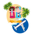 man and woman sunbathing on the beach tourism vector image vector image