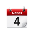 March 4 flat daily calendar icon Date and vector image vector image