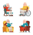 Old Man Characters Sit Sleep Web Surfing Read vector image vector image