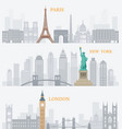 paris new york london landmarks vector image vector image