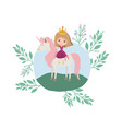 princess with unicorn in the camp vector image vector image