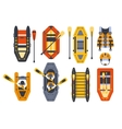 Rafting Boats And Gear Set vector image vector image