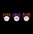 round labels decorative flowers black background vector image vector image