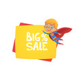 sale banner background with suoer hero boy vector image