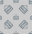 SALE tag icon sign Seamless pattern with geometric vector image
