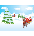 Santa Riding Reindeer Sleigh vector image vector image