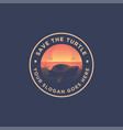 scenery logo turtle sunset and sea landscape vector image