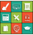 School and Education Flat Icons Set vector image vector image