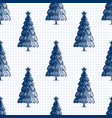 seamless pattern with pen hand drawn fir trees vector image