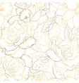 seamless pattern with roses and daffodils on white vector image vector image