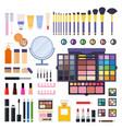 set makeup kit icons flat vector image vector image