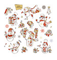set of cute snowmen vector image